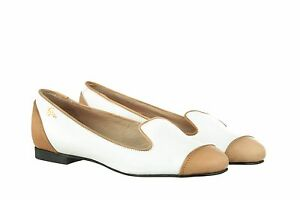 Italy In Slip Bianco Ballerina 37 Mori Schuhe Leather White Flats Shoes Made On S6EnwBq