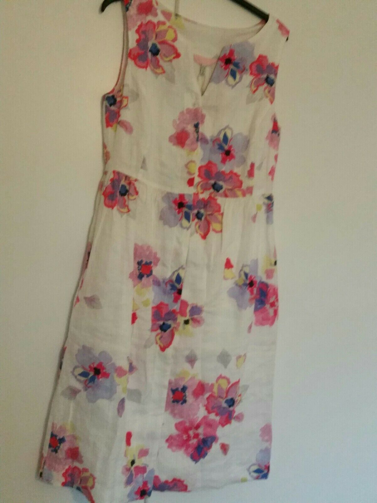 Joules Womens Lisia Linen Dress in WHITE FLORAL Size 10