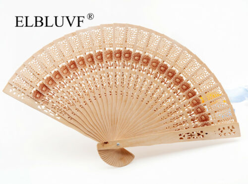 Chinese Vintage Wooden Bamboo Folding Hand Fan Wedding Party Flower Pattern Gift