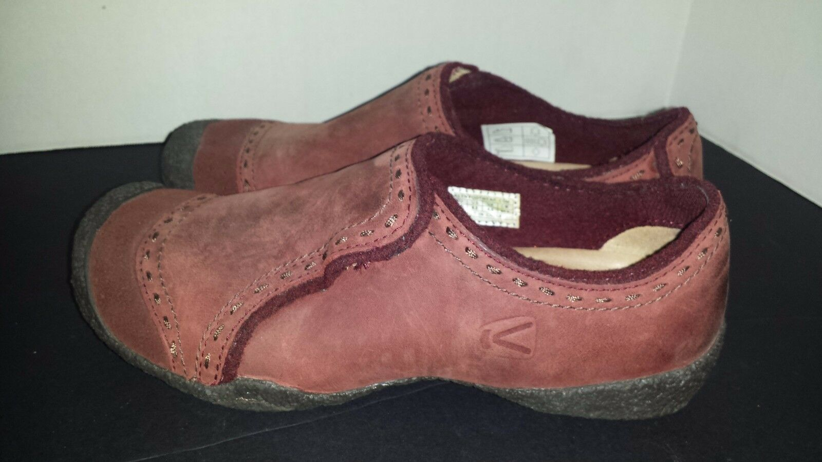 KEEN clog loafer Burgundy Maroon leather suede slip on shoes US 6.5