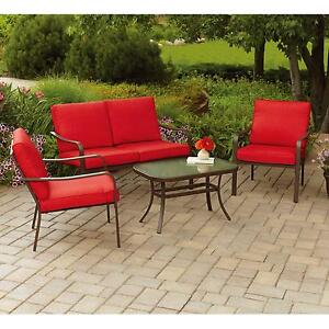 Image Is Loading Mainstays Stanton Cushioned 4 Piece Patio Conversation Set