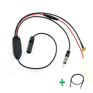 DAB-Car-radio-antenna-FM-AM-to-DAB-aerial-Amplifier-splitter-MCX-to-SMB-cable