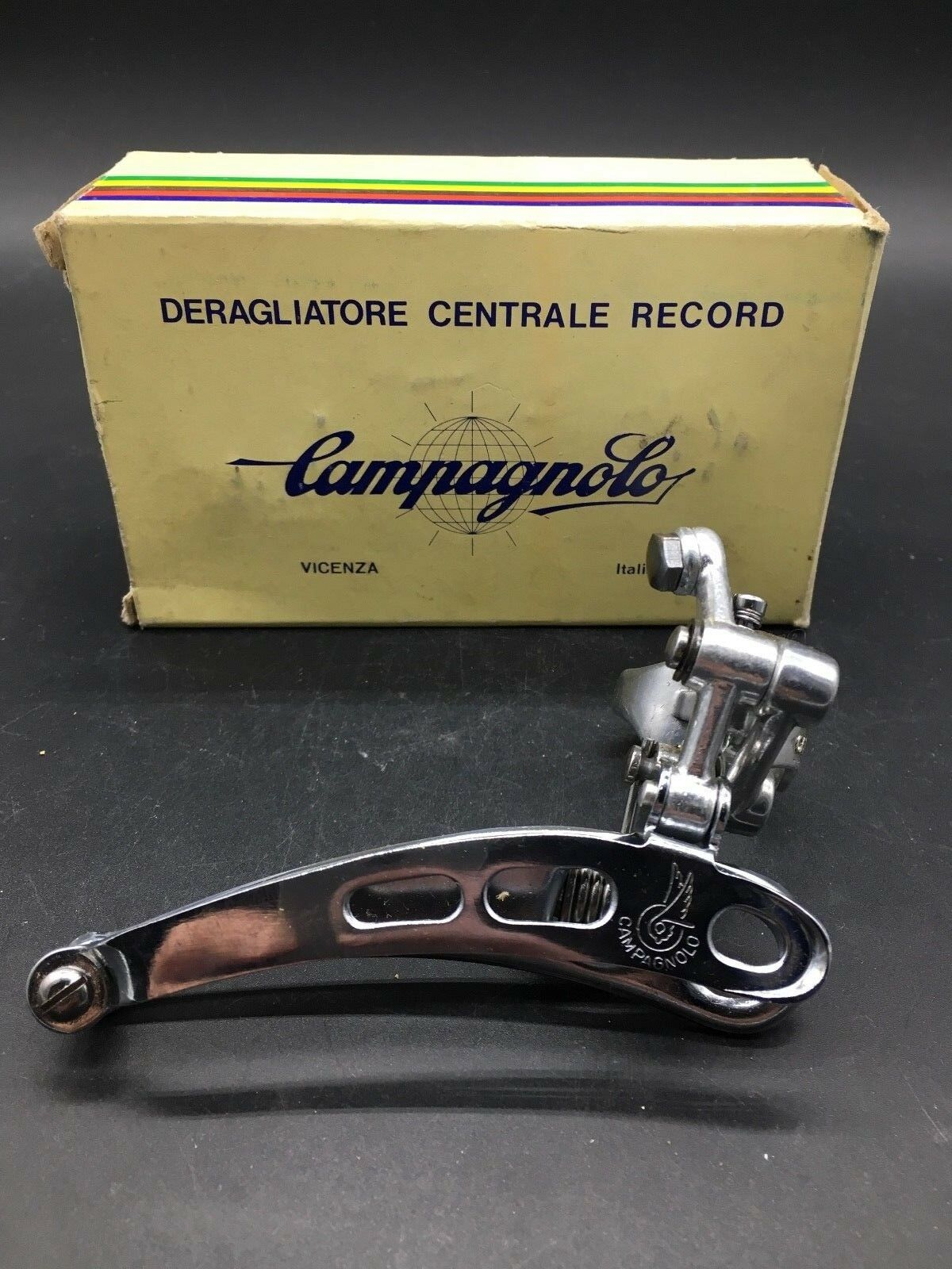 VINTAGE CAMPAGNOLO NUOVO RECORD FRONT DERAILLEUR CLAMP-ON 3 HOLES NIB  NOS SUPER  waiting for you