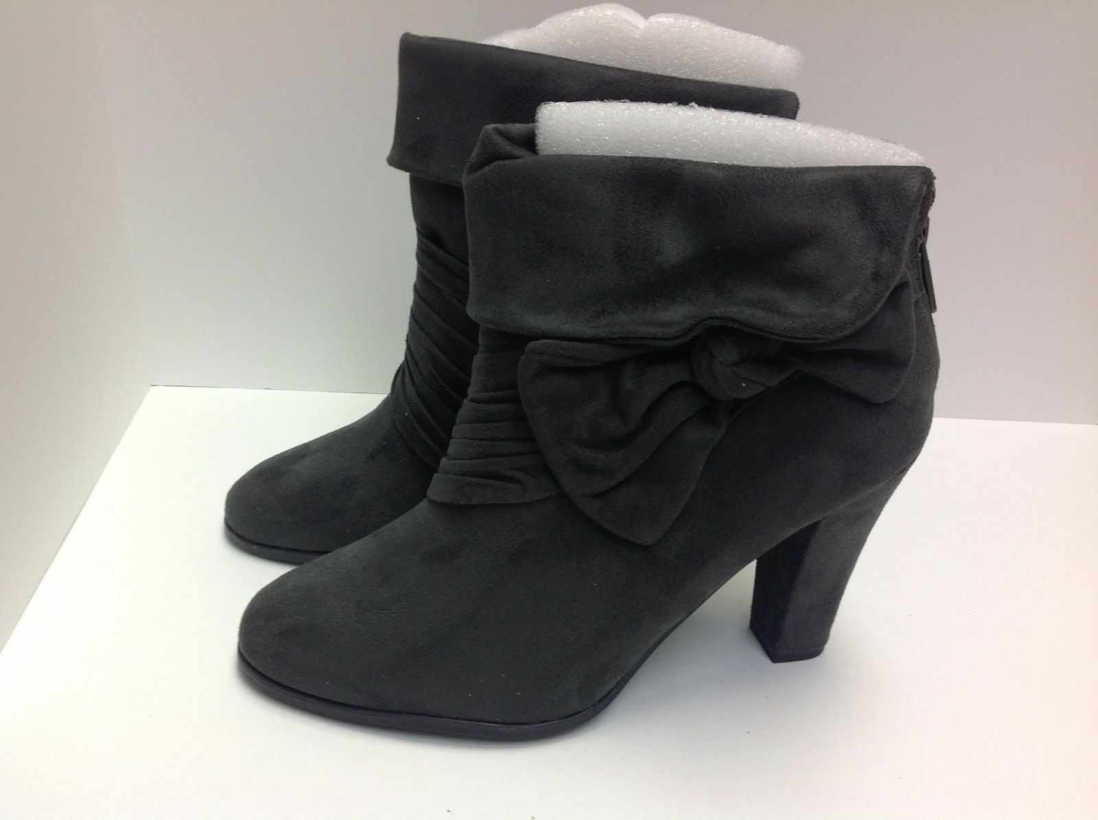 Anthropologie Impo vegan dark grey suede ankle boots 8.5 nwot
