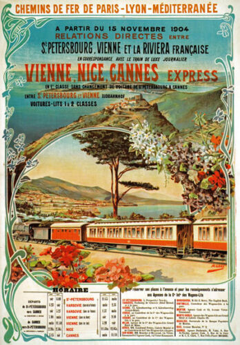 TX122 Vintage Vienne Nice Cannes Express French Railway Travel Poster A4