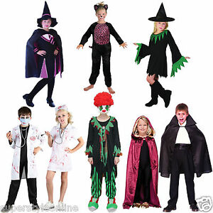 Kids-Halloween-Costume-Girls-Boys-Witch-Cat-Vampire-Fancy-Dress-Age-3-16-Years