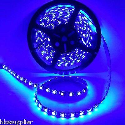 Blue 5M 300LEDs 60Led/M 5050 SMD Flexible LED Strip Lights Waterproof Black PCB