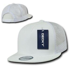 9199d2291 Details about Solid White Blank 5 Panel Mesh Flat Bill Snapback Trucker  Baseball Ball Cap Hat