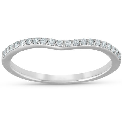 1//8cttw Diamond Curved Wedding Engagement Guard Enhancer Band 14k White Gold