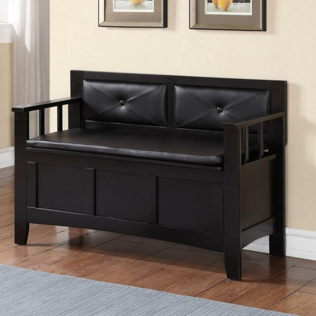 Carlton Black Storage Bench Entryway Furniture W Flip Top Lid Padded Back Seat For Sale Online