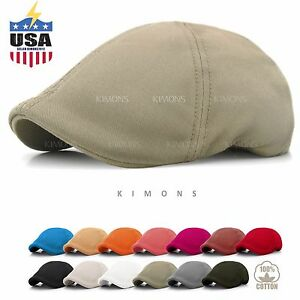 Solid-Cotton-Gatsby-Cap-Mens-Ivy-Hat-Golf-Driving-Summer-Sun-Flat-Cabbie-Newsboy