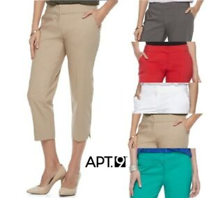 af800d0ea19 NEW Women s Apt. 9 Torie Mid Rise Stretch Straight Capri Pants Avg ...