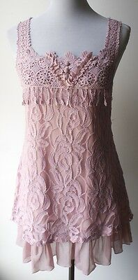 PRETTY ANGEL Vintage Victorian Boho Mauve Pink Linen Blend Mini dress w/ lace