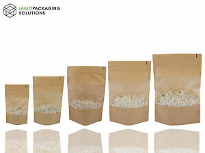EXTRA THICK KRAFT PAPER WINDOW STAND UP PLASTIC BAGS