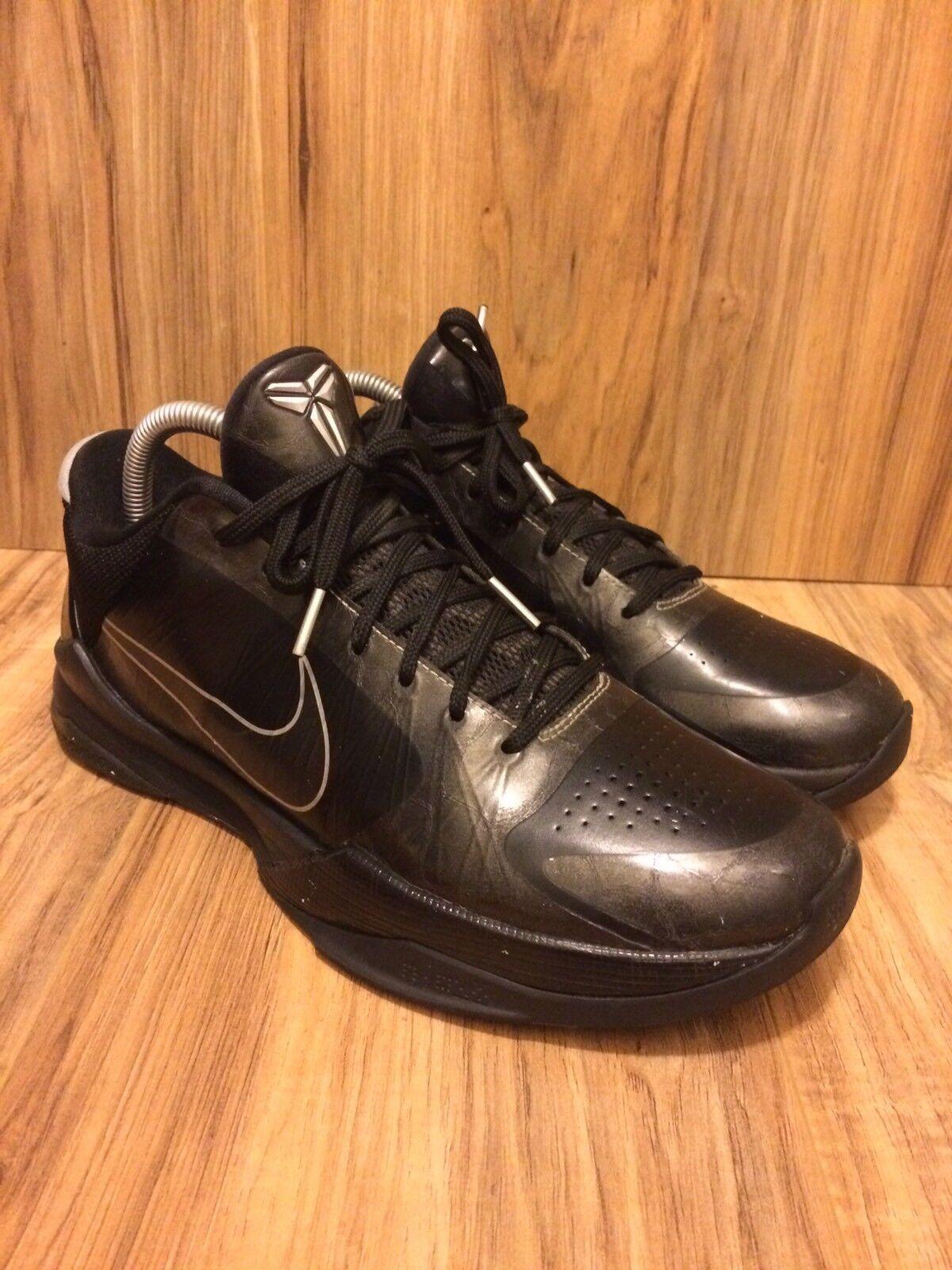 RARE2010 Nike Zoom Kobe V 5 Blackout Black Silver Wolf Grey 386429-003 SZ 9