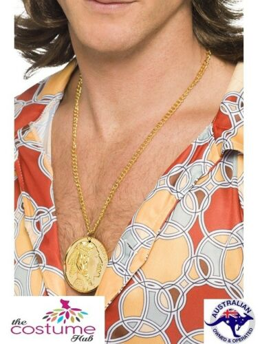 Gold Metal Medallion On Chain 60s Fancy Dress Hippy Hippie