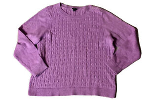 Talbots-Purple-Cable-Knit-Speckled-Sweater-Size-2X-XXL