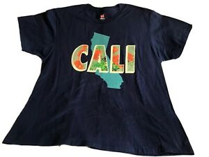 CALI-State-Map-amp-State-Flower-Poppy-Women-039-s-Navy-Blue-T-Shirt-Adult-2XL-NWOT