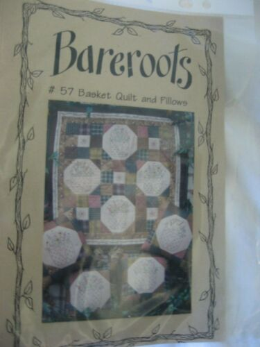 Bareroots 57 Basket Quilt ow Stitchery Flowers Patchwork Embroidery Pattern