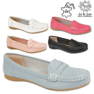 Ladies-Moccasins-Women-Leather-Deck-Casual-Boat-Loafers-Slip-On-Comfort-Shoes