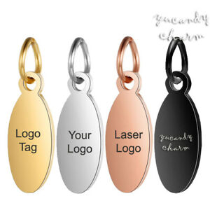 High Quality Polished Custom Logo Etched Engraved 6mm Round Stainless Steel Jewelry Tag Gold Rose Gold Stainless Steel
