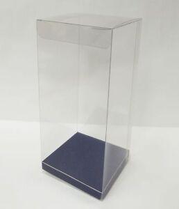 10 Scatole Trasparenti Con Fondo Blu 8x8x18 Cm Per Bomboniere Fai Da