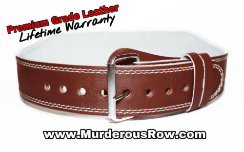 """Murderous Row Weight Lifting Belt Back Support Powerlifting 4/"""" Strap Gym L"""