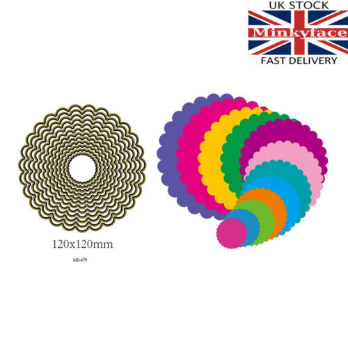 12 piece frilled circle nesting die set thin metal cutting die cutter UK seller