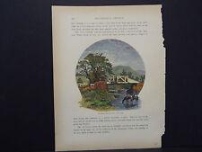 Picturesque America, Art Journal Handcolor c.1890 Old Bridge Near Canaan #10