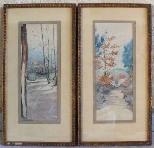 2 Acquerelli Paesaggi Firmato Blondel 1924