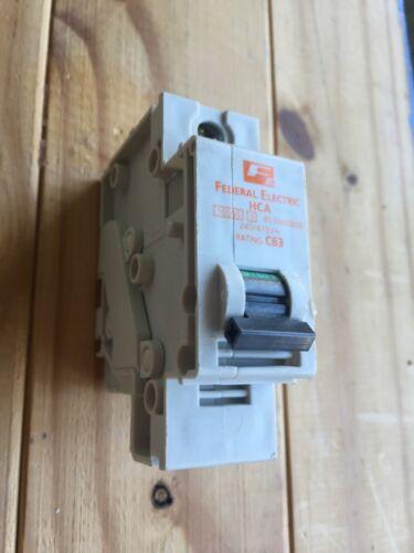 FEDERAL électrique 63 Amp TYPE C 10kA MCB Disjoncteur stablok HCA1P63 HCA