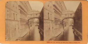 Venezia Pont Dei Sospiri Italia Stereo Jean Andrieu Parigi Albumina Ca 1870