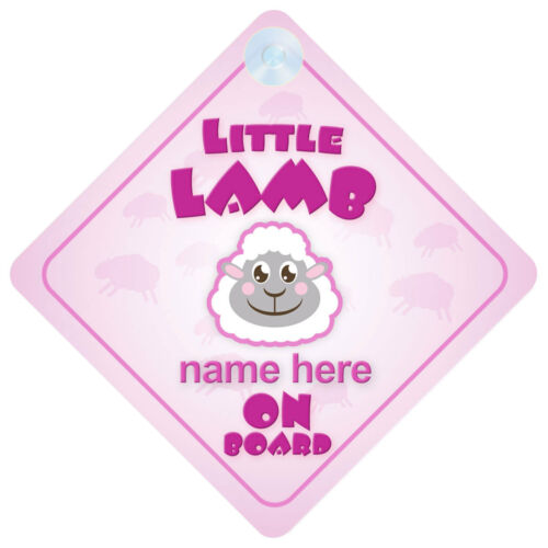 Little Lamb On Board Personalised Baby Girl Car Sign
