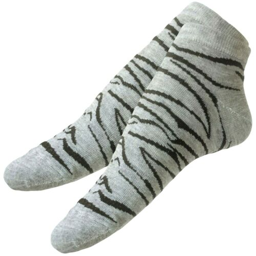 36-39 Sneaker Socken mit ZEBRA Motiv Damen Söckchen 12er Set 97/% Baumwolle