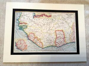 Antik-Karte-Druck-Franzoesisch-West-Afrika-Ivory-Coast-Gold-Togo-Vintage-Kunst