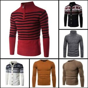 Casual-Knitted-Knitwear-Warm-Pullover-Turtle-Neck-Winter-Mens-Sweater-Jumper