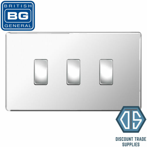 BG Chrome Poli Screwless 3 Gang Interrupteur De Lumière En Double format Custom Grille