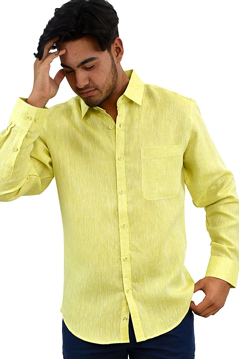 Herren Bohio 100% Tropisch Leinen Leinen Leinen Gelb Freizeit Langärmeliges Top (S  2XL) -   Erste Qualität  6e91b9