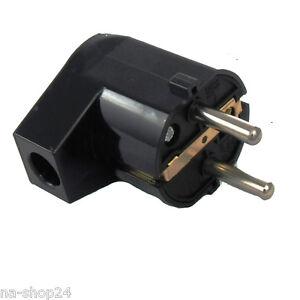 5x Stecker Schuko Kontakt Schutzkontakt Schukostecker Winkel schlagfest weiß