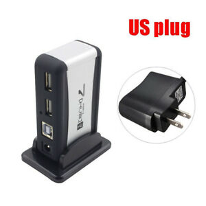 USB 7-Port HUB Powered With AC Adapter Cable High-Speed EU//US Plug For PC KH