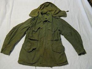 US-ARMY-M-1951-Green-Field-Jacket-Shell-With-Hood-Small-Short-Korea-Era-1951