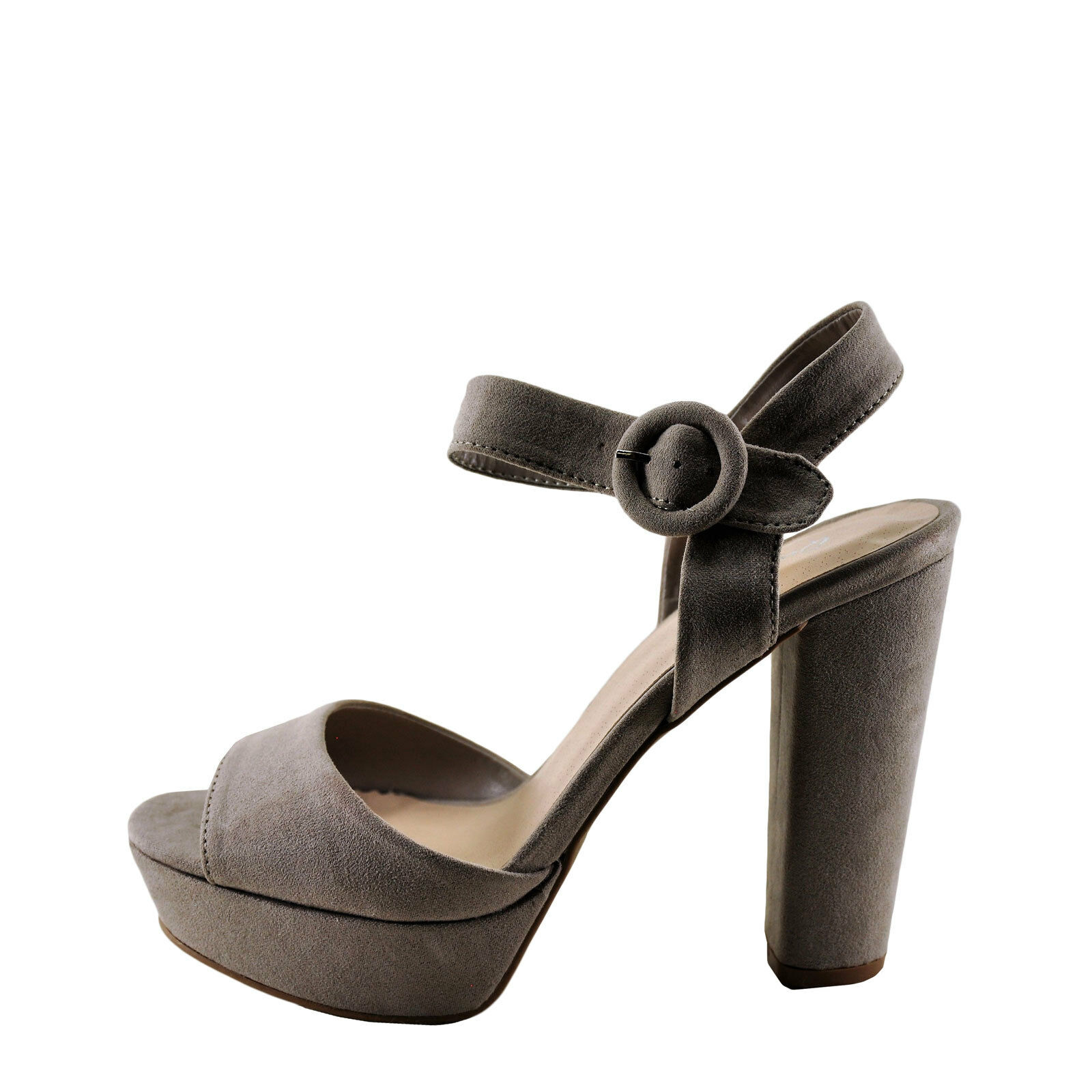 Qupid Iconic 01 Taupe Women's Faux Suede Open Toe Chunky Heel