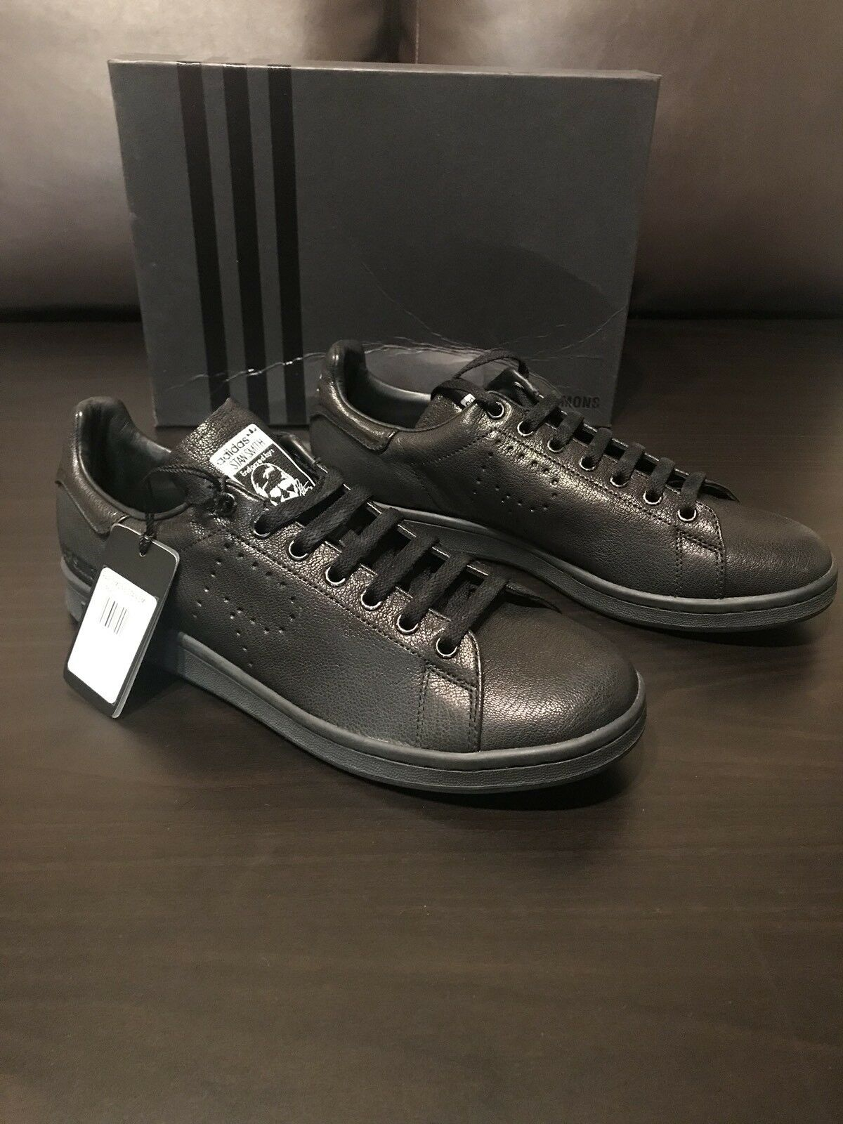 Adidas by - Raf Simons (Stan Smith) - by Black Leather Sneakers - Men's Size 11 d39846