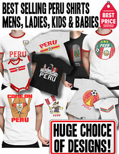 ed7c2c182 PERU Patriotic Fan Kit T-Shirt Football Choice of Mens Womens Kids ...