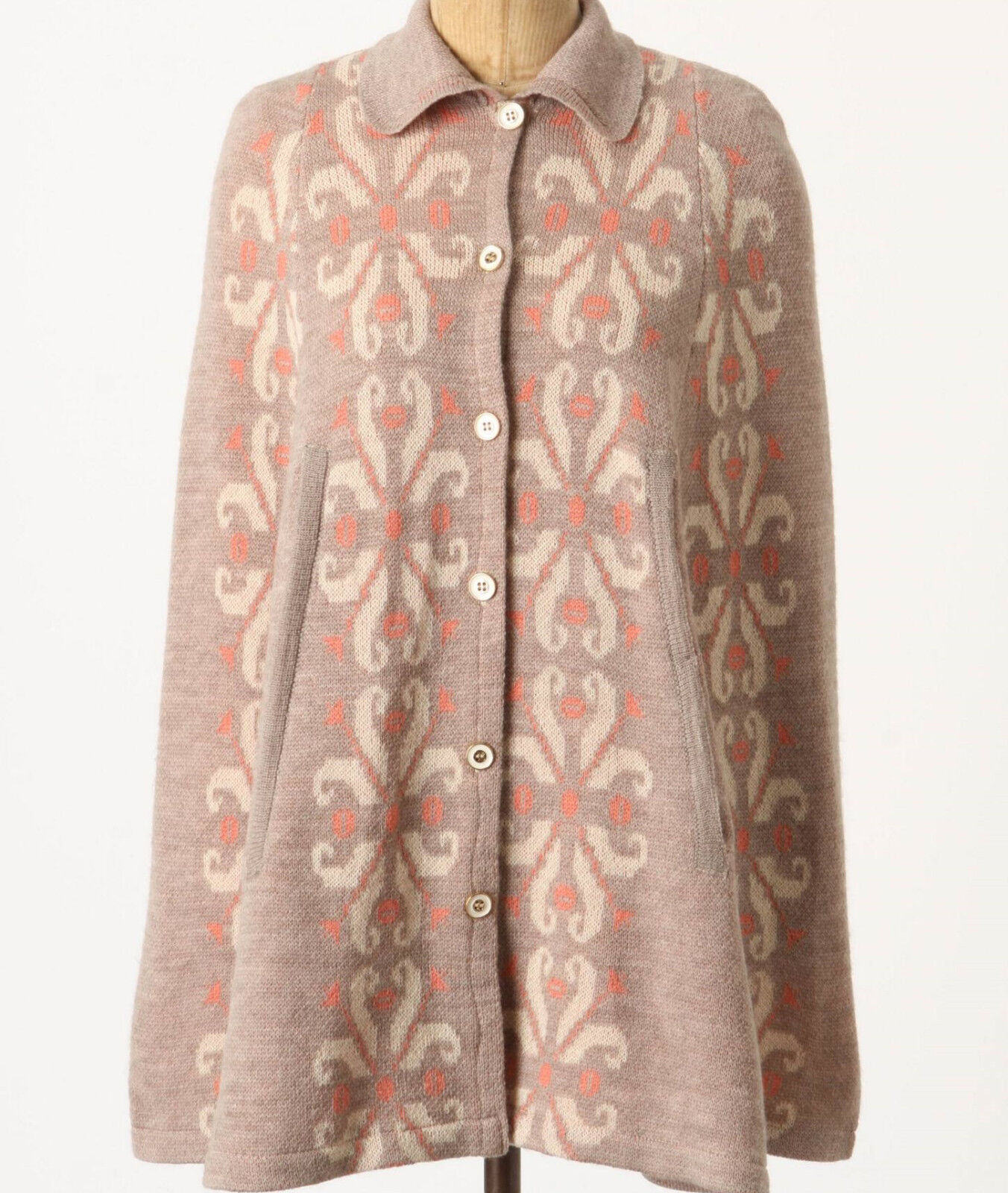 Madchen Flowering Pompona Cape Cardigan Size M, L Beige NW ANTHROPOLOGIE Tag