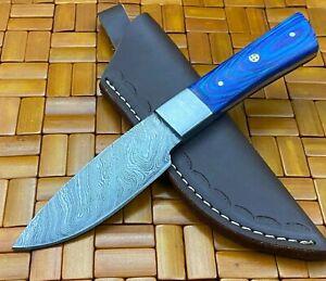 Amzing Handmade Damascus Steel Skinner Knife & Sheath Blue Hard Wood Handle J155