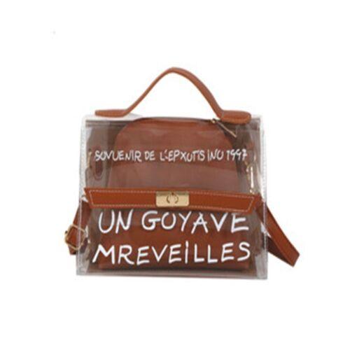 Creative Letter Pattern PU Handbags Tote Bags Transparent Bag Shoulder Bags