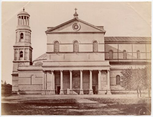 VINTAGE CHRISTIAN CHURCH WITH BELL TOWER POSSIBLY SAINT PAULS ROME ALBUMEN PRINT