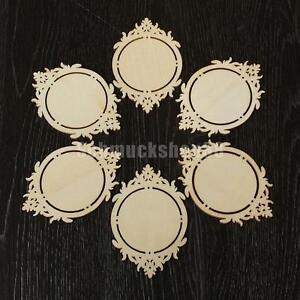 10pcs Vintage Holz Spiegel Rahmen Form Holzscheiben Ornament Diy