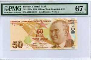 Turkey 50 Lira 2009 / 2017 P 225 a Prefix A Superb Gem UNC PMG 67 EPQ High